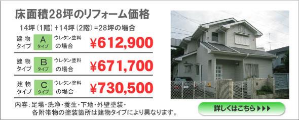坪面積28坪のリフォーム価格